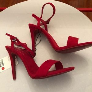 Red, strap H&M heels. Brand new w tag, never worn